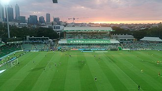 Soccer in Western Australia - Pre-game warm up at Perth Glory's home ground NIB Stadium in March 2015.