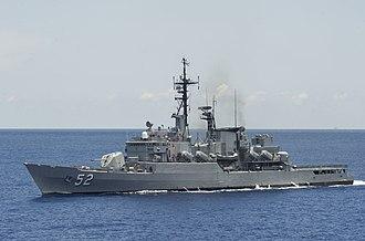 BAP Villavicencio (FM-52) - Image: Peruvian frigate BAP Villavicencio (FM 52) underway in June 2014