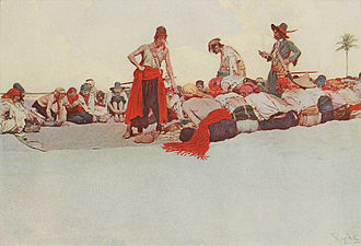 Pirate code - Treasure being divided among pirates in an illustration by Howard Pyle.