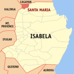 Map of Isabela showing the location of Santa Maria