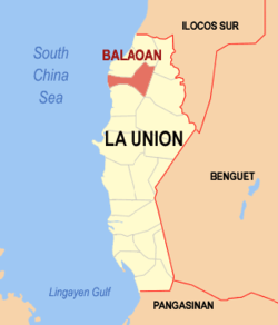Map of La Union showing the location of Balaoan