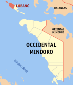 Mapa ti Occidental Mindoro a mangipakita ti lokasion ti Lubang, Occidental Mindoro.