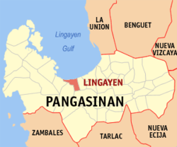 Map of Pangasinan showing the location of Lingayen