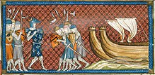 Miniature of Phillip of France arriving in the Eastern Mediterranean