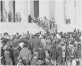 Photograph of ceremony at the Lincoln Memorial commemorating Lincoln's Birthday, attended by a large group of... - NARA - 199493.tif