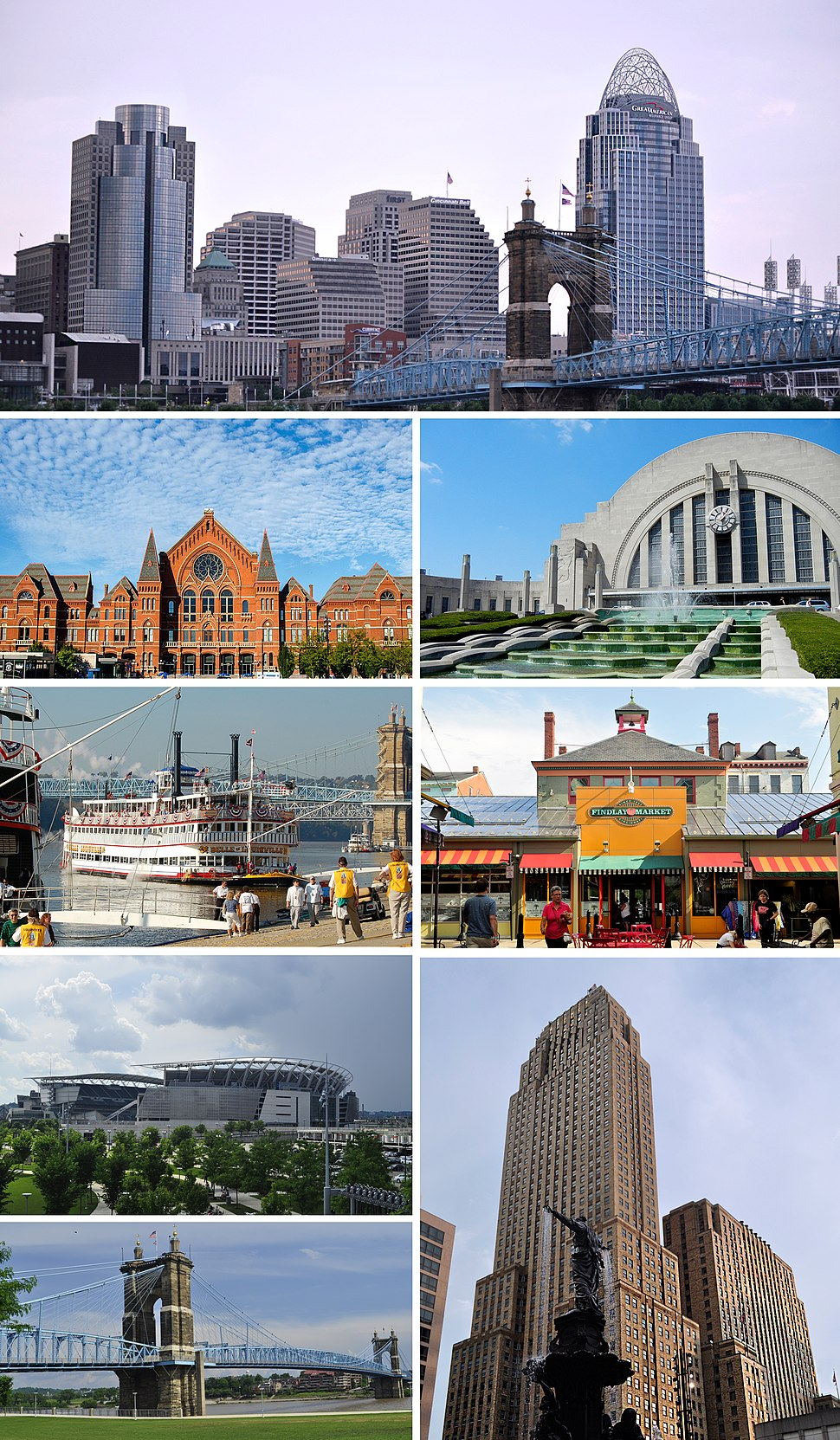 Clockwise, from top: Cincinnati Skyline, Union Terminal, Findlay Market, the Carew Tower with the Tyler Davidson Fountain in the foreground, the John A. Roebling Suspension Bridge, the Paul Brown Stadium, vintage steamboats docked along the Ohio River and the Cincinnati Music Hall