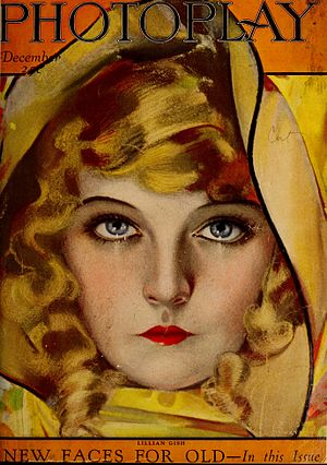 Photoplay - Cover of the December 1921 issue featuring Lillian Gish painted by Rolf Armstrong
