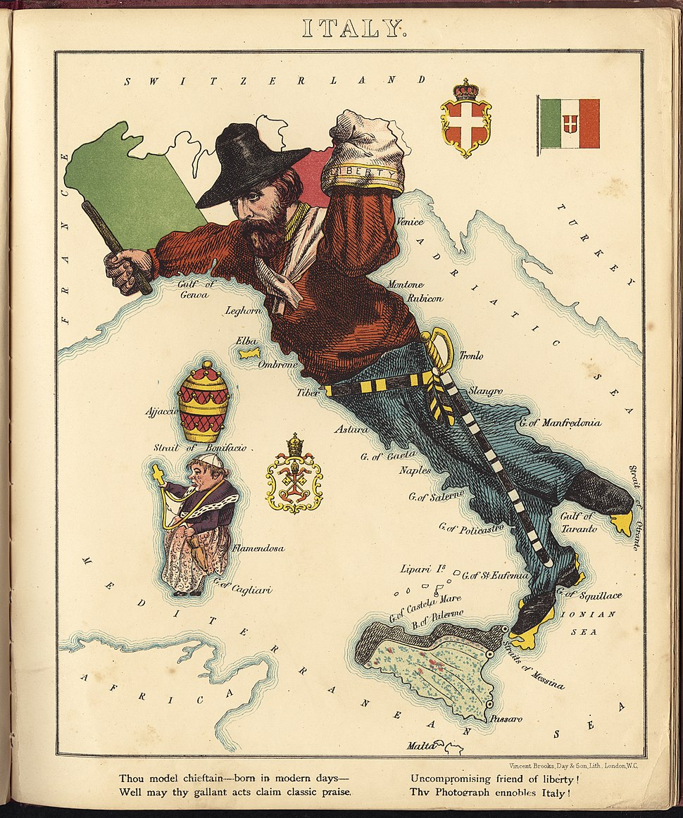 Pictorial Map of Italy.1868