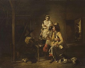 Soldiers with a Serving Maid in a Barn