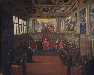 "Full College - Reception of the Spanish ambassador at the ""Hall of the College"" (Sala del Collegio) in the Doge's Palace, 1604. Painting by Pietro Malombra"