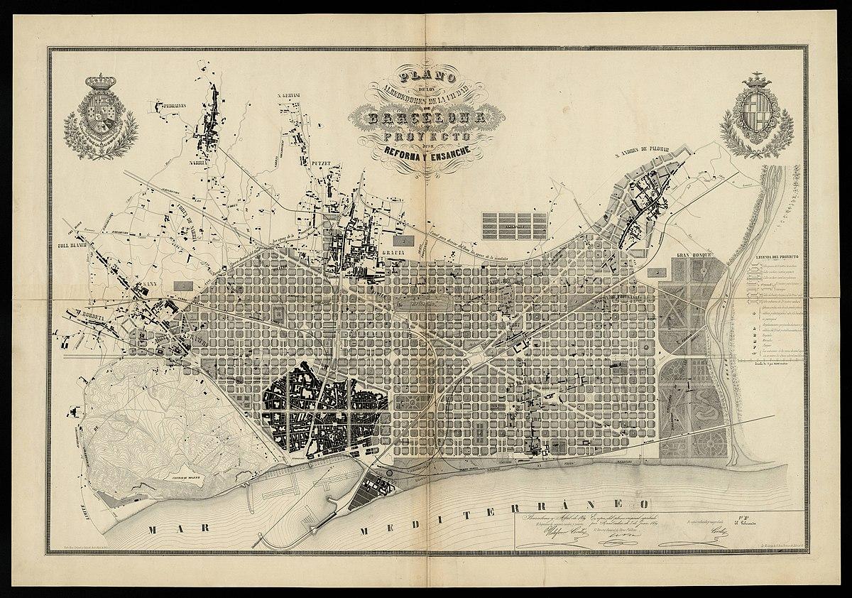 Carte Eixample Barcelone.Plan Cerda Wikipedia