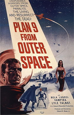 """PLAN 9 FROM OUTER SPACE"" in large red letters adorns a beam from a night sky containing spacecraft and warplanes. The foreground has the head of a man in a bubble-headed red spacesuit, a caped vampire attacking a victim, a seductive vampiress, and gravediggers at work. Above the title is ""UNSPEAKABLE HORRORS FROM OUTER SPACE PARALYZE THE LIVING AND RESURRECT THE DEAD!""; below are ""BELA LUGOSI"", ""VAMPIRA"", and ""LYLE TALBOT"". This movie poster is cheaply printed: the only colors are blue, red, and the yellowed background."