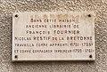 Plaque commémorative - Restif de la Bretonne - Rue de l'Horloge à Auxerre.jpg