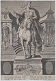 Plate 1- equestrian statue of Julius Caesar, seen from the front, with a scene of a naval battle on pedestal below, from 'Roman Emperors on Horseback' MET DP877290.jpg