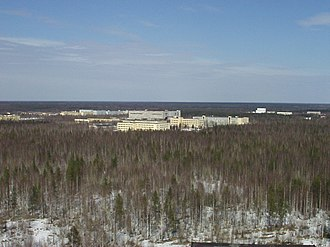 Plesetsk Cosmodrome is situated in the taiga Plesetsk satellite assembling facilities.JPG