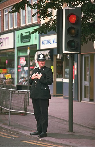 Custodian helmet - A constable of the North Wales Police in 1977.