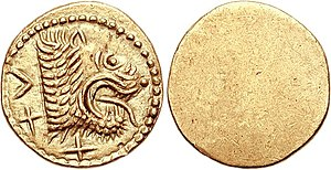 Etruscan coins - Lion's head right; X-XV (mark of value) below and behind