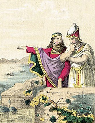 Polycrates - Polycrates with Pharao Amasis II circa 530 BC (19th century illustration).