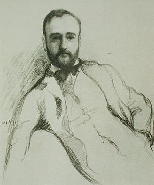 John Davidson (poet) - Portrait of John Davidson by William Rothenstein in The Yellow Book, Vol. 4 (1895)