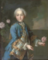 Portrait of a boy in a blue jacket and wig, with a pink rose in his left hand.png