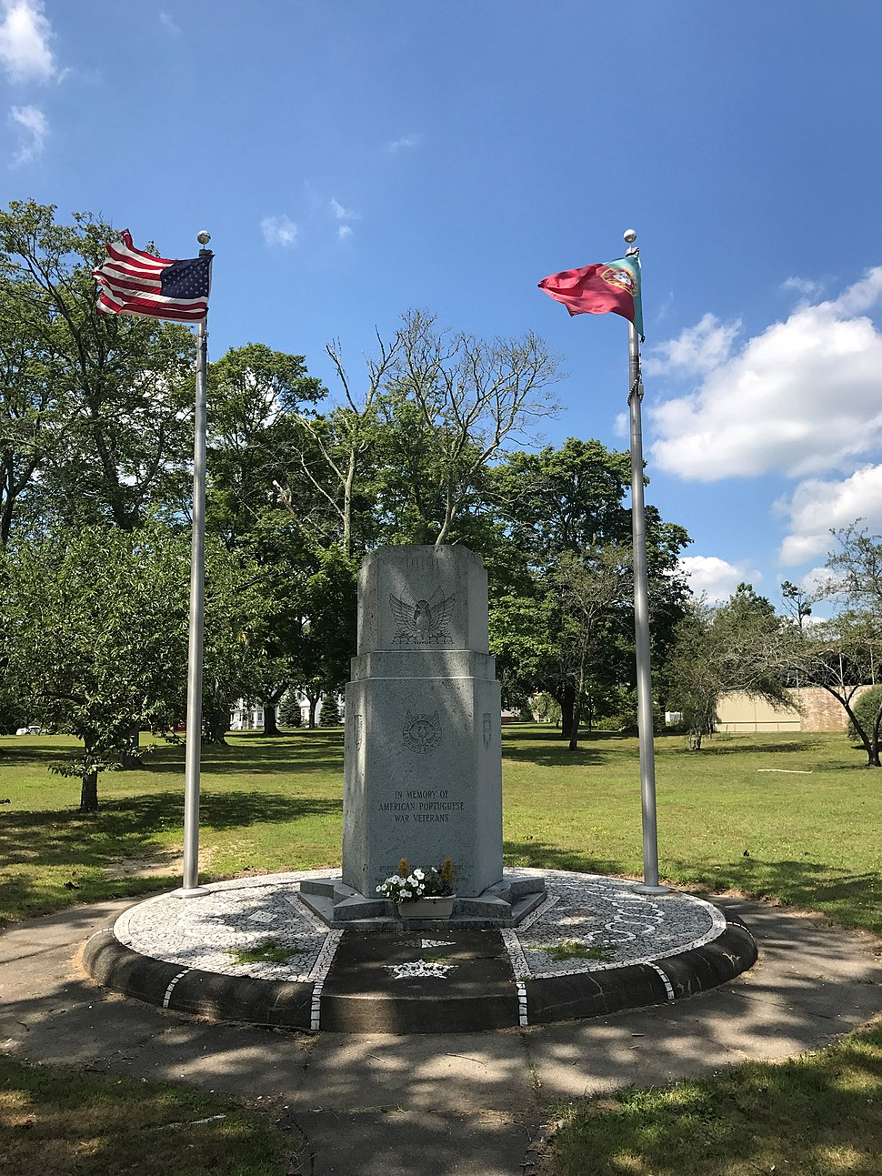 Portuguese-American Veterans Monument New Bedford w Flags