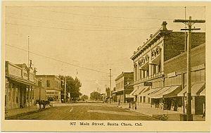 Santa Clara, California - Santa Clara's Main Street, circa 1910