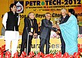Pranab Mukherjee presenting the Life Time Achievement Award to Late Shri Sabir Raha (received by his wife), at the 10th International Oil & Gas Conference and Exhibition - Petrotech-2012.jpg