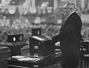 NOF (defunct) - President Harding gave the first presidential speech to be carried by radio on May 18, 1922 over NOF, speaking before the Chamber of Commerce of the United States in Washington, D.C.
