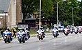 President Trump's motorcade is led by motorcycles in Kenosha Wisconsin.jpg