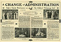 Press sheet for A CHANGE OF ADMINISTRATION, 1913 (Page 1).jpg