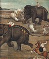 Prince Awrangzeb (Aurangzeb) facing a maddened elephant named Sudhakar (7 June 1633) - right panel.jpg