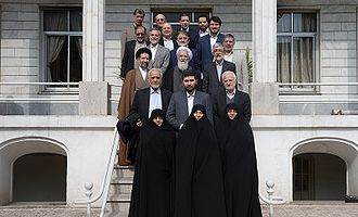 2016 Iranian legislative election - Principlists Grand Coalition's candidates for Tehran meeting with Ali Movahedi-Kermani, Secretary-General of Combatant Clergy Association