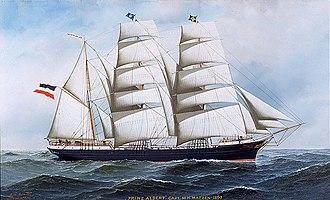 "History of the United States Merchant Marine - ""The Prinz Albert,"" 1897, by Antonio Jacobsen"