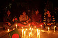 Protesters at Shahbag pepole, flag & candle.JPG