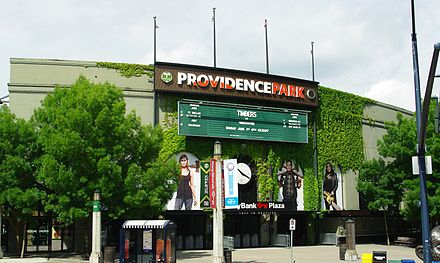 Main entrance with stadium as Providence Park Providence Park main entrance - Portland, Oregon.JPG