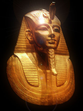 10th century BC - Gold burial mask of Pharaoh Psusennes I, discovered 1940 by Pierre Montet.
