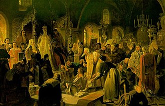 History of the Russian Orthodox Church - An Old Believer Priest, Nikita Pustosviat, Disputing with Patriarch Joachim the Matters of Faith. Painting by Vasily Perov