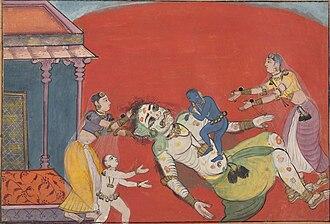 Putana - Krishna (the blue baby) killing Putana.