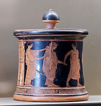 Pyxis (vessel) - The wedding of Thetis and Peleus. Attic red-figure pyxis, ca. 470–460 BC