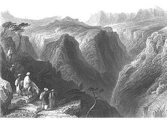 Kfarsghab - Kfarsghab in the perspective of the Qadisha valley, engraving by Bartlett in 1838