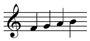 Quarter note - Four quarter notes. Quarter notes are the smallest note value not beamed together.