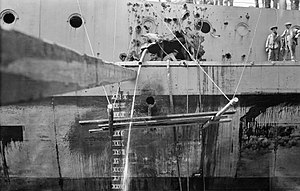 Queen Elizabeth class ship Jutland battle damage 1916 IWM Q 23212.jpg