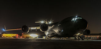 Operation Shader - An RAF C-17 aircraft being refueled at RAF Brize Norton before delivering Iraq-bound aid to RAF Akrotiri in Cyprus.