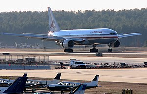 Wake County, North Carolina - An American Airlines Boeing 777 from London Gatwick, lands at RDU.