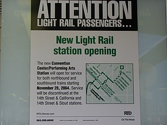 Theatre District–Convention Center station - Image: RTD Light Rail Convention Center Station Sign