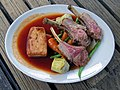 Rack of lamb cutlets dinner at Black Horse Inn, West Sussex, England.jpg