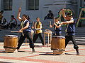 Raijin Taiko performing on Upper Sproul Plaza on Cal Day 2009 2.JPG