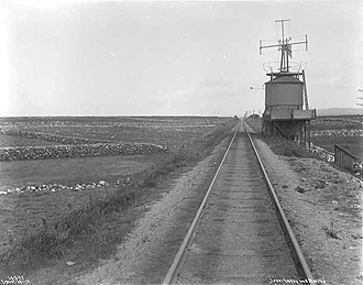 Jæren Line - The narrow-gauged Jæren Line and a windmill at Hå in 1912