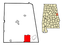 Location in Quận Randolph, Alabama