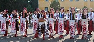 Ukrainian folklore - Traditional Ukrainian clothes, salt and bread and rushnyk.
